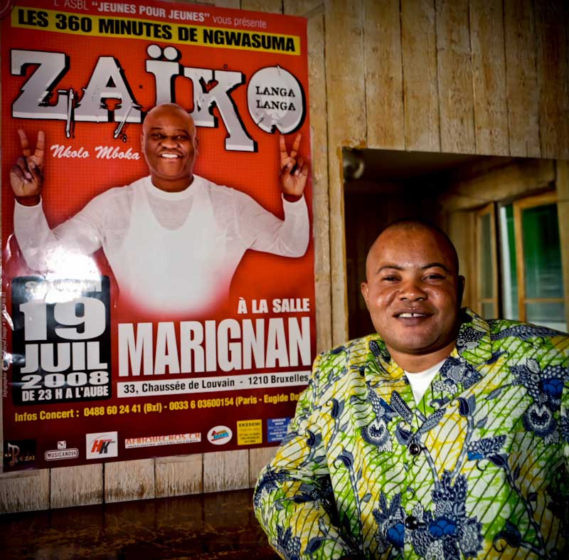 Ngongiste Mayele-Gode alias Nzeza Mongali Succes, 46, Congolese musician, in Brussels since 2000, inside <i>Casa Latina</i>, a place where a lot of Congolese bands usually perform. Nzeza played with Zaïko Langa Langa, a band famous in Africa for the <i>rumba</i>.