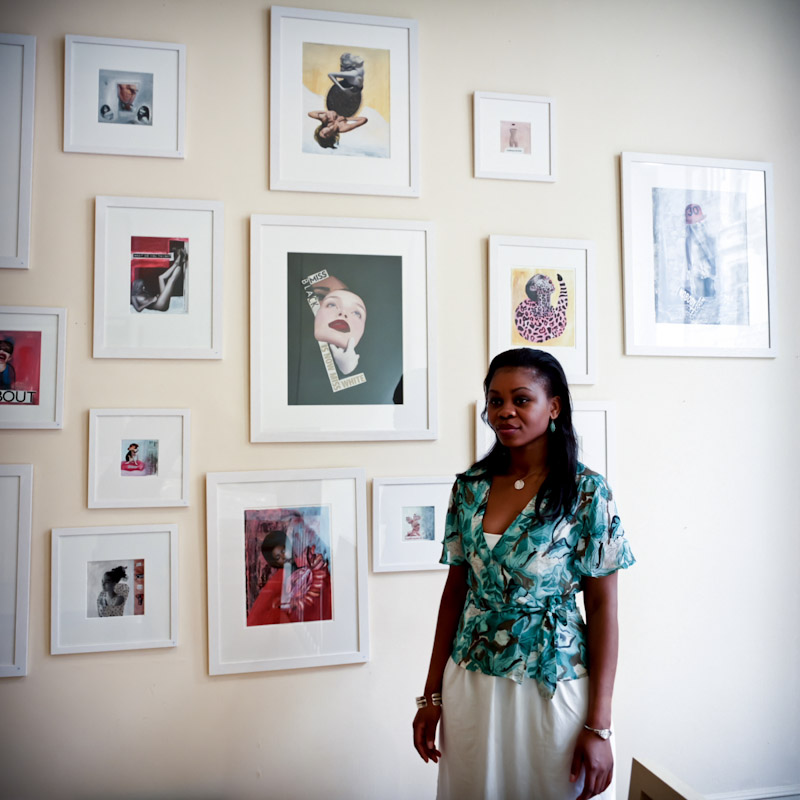 Thérèse Ngalula in the gallery where her works are exhibited. The title of her exhibition is <i>Women&apos;s stories</i>.